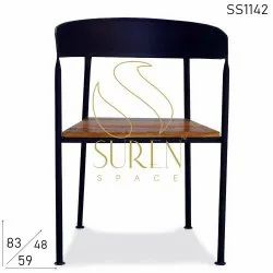 Wooden Black Iron Visitor Chairs