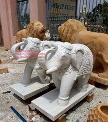 White Elephant Stone Sculpture Art