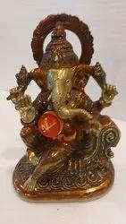 Brass Lord Ganesha Statue, Size: 10.5 X 7.5 X 5 Inch