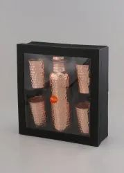 Indiawala Hammered 4 In 1 Glass And Bottle Copper Set