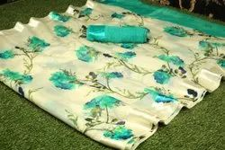 Anmazing factory Party wear Silk Route Soft Linen Flower Printed Saree, 6 m (with blouse piece)