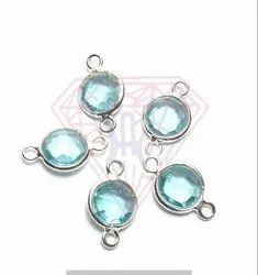 Blue Topaz Gemstone Bezel Connector