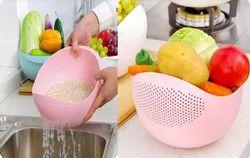 White Big Plastic Rice Bowl Stainer
