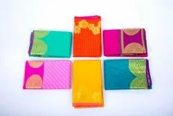 Thandavas Casual Wear 6.20m Mini Kanchi Embose Art Silk Saree, With Blouse Piece, 6.2 m