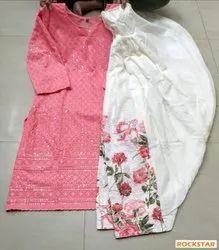 Cotton Casual Wear Digital Rose Printed Chikankari Embroidery Kurti with salwar set, Handwash