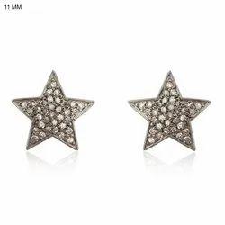 Chic Designs Diamond Star Stud Earrings, Size: 11 Mm