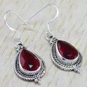 925 Sterling Silver Jewelry Corundum Emerald Gemstone Fine Earring WE-6290