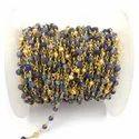 Lapis Lazuli and Gold Pyrite Gemstone Beaded Chain