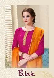 Embroidered Red Palak Utsav Churidar Dress Material
