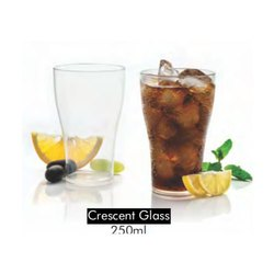 Plain Transparent 250 ml Crescent Glass, For Home, Shape: Round