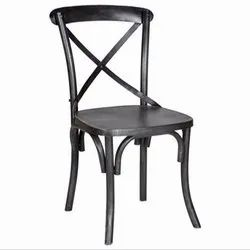 HV Powder Coated Iron Cross Back Chair, For Cafe