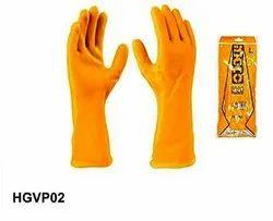 Plain Yellow Ingco HGVP02 PVC Gloves, Size: Large, Finger Type: Full Fingered