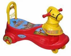 Red & Yellow Plastic My Fair Horse Magic Car, For School/Play School