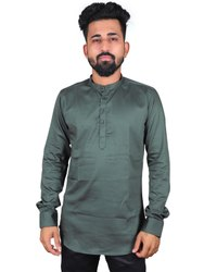 Green Festival Cotton Fancy Mens Wear Kurta, Mandarin Collar, Size/Dimension: M-XXL