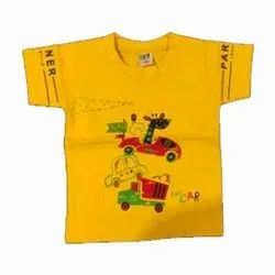 Casual Wear Round Kids Printed Cotton T Shirt