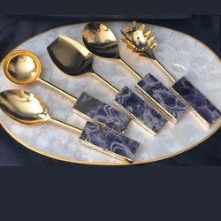 Resin and Brass Melamine Decorative Spoons, For Hotel