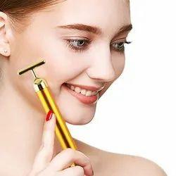 24K Golden T Shape Electric Anti Aging Facial Skin Tightening Roller Massager