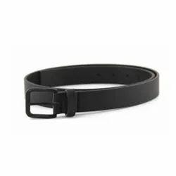 Formal Wear Plain Men''s Matte Black Reversible Buckle Leather Belt