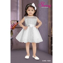 Imported Glitter and Net White D No 1024 Shringi Girls Party Wear Frock, Size: 16 To 22