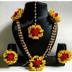 Yellow And Red Handmade Paper Flower Haldi Set, Wedding