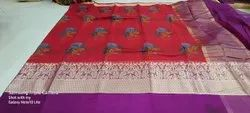 Printed Border Fancy Saree, With blouse piece, 5.2 m (separate blouse piece)