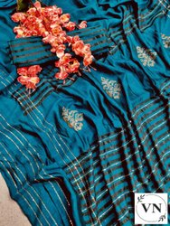 4 Colors Party Wear VICHITRA JACQUARD SAREE, 6.3 m (with blouse piece)