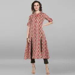 Janasya Women's Pink Cotton Flex Kurta(J0029)