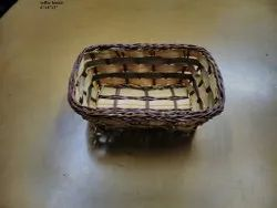 Cane/Bamboo Square Serving Tray Basket for Tea, Coffee, Snacks for Kitchen and Dining Table