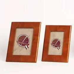 Brown Rectangle Leather Photo Frame