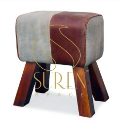 Suren Space Brown Commercial Leather Footstool