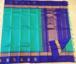 Blue On Blue Color Silk Saree