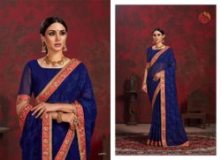 Royal Blue Chiffon Saree