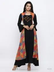 Rayon Geometric Print Embroidered Anarkali Kurta