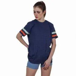 Beard India Blue Women Half Sleeves Cotton T Shirt