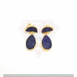 Amazing Druzy Gemstone Earring With Gold Plated And Moon And Pear