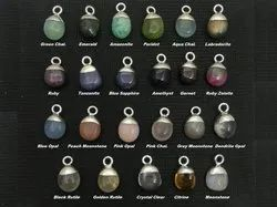 Gemstone Smooth Tumble Charm - Gemstone Silver Electroplated Cap Charms