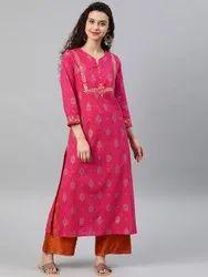 Cambric Cotton Zari Embroidered Straight Kurta