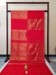 Blood Red Color Silk Saree