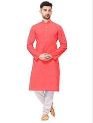 Red Cotton Men Pathani Kurta, round collar, Size/Dimension: Large