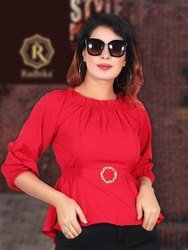 Red crepe Women Fancy Top, Size: Free Size