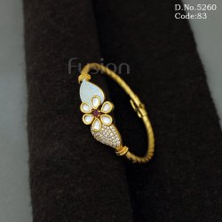 American Diamond Kundan Meenakari Openable Brass Bracelet Kada