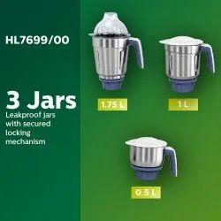 Philips HL 7699/00 750 W Mixer Grinder (White, 3 Jars), Black