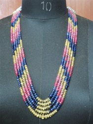 5-Strand Ruby,Yellow And Blue Sapphire Smooth Rondelle Stone Bead Necklace Jewelry