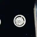 Round Brilliant Stud Earrings in 18k White Gold Moissanite Diamond Stud Earrings