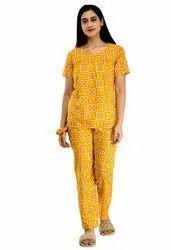 Cotton Women Printed Orange, Yellow Night Suit Set