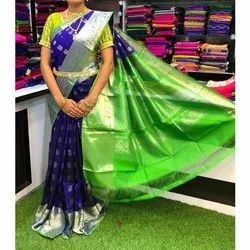 Party Wear Printed Ladies Fancy Silk Saree, 6.3 m (with blouse piece)