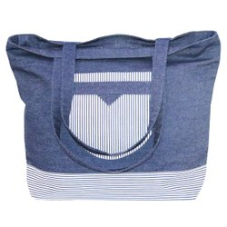 blue Printed Denim Stripe bags