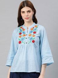 Cambric Cotton Embroidered Regular Top