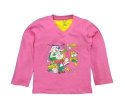 Kinder Choice Pink & Yellow & White New Colorful V - Neck Designs Full Sleeve For Kids
