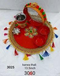 Decorated karwa chouth Thali